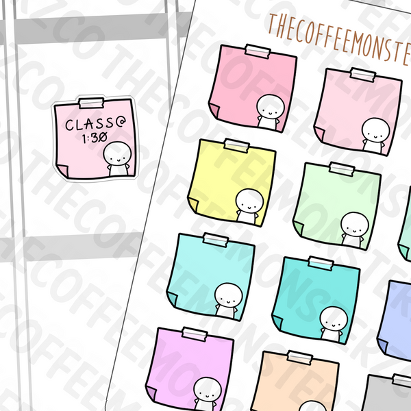 Rainbow Sticky Note Stickers, TheCoffeeMonsterzCo