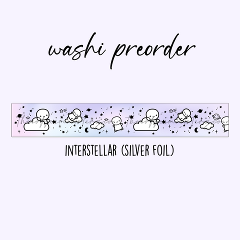 PREORDER Interstellar Emoti Washi Tape (15mm Silver Foil)
