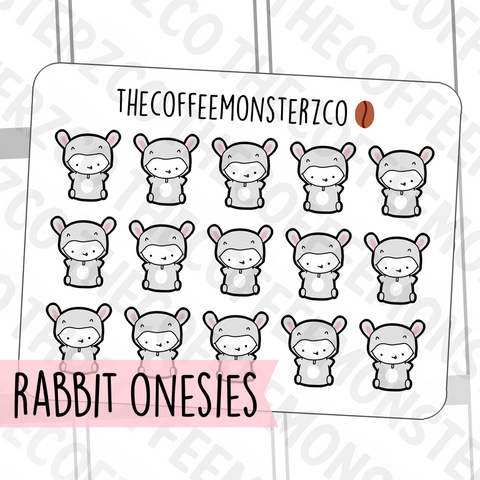 Rabbit Onesie Emotis, TheCoffeeMonsterzCo