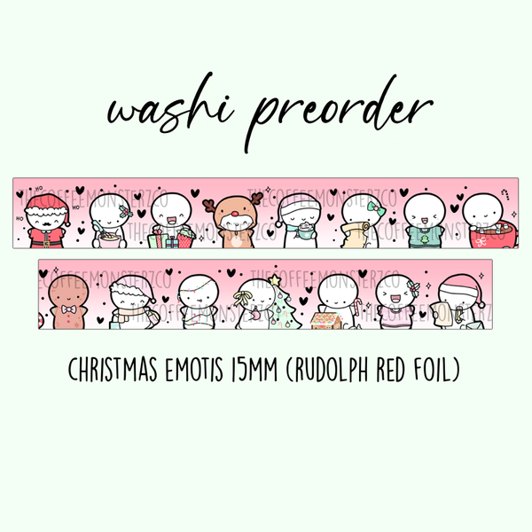PREORDER Christmas Emotis Washi Tape (15mm Rudolph Red Foil)