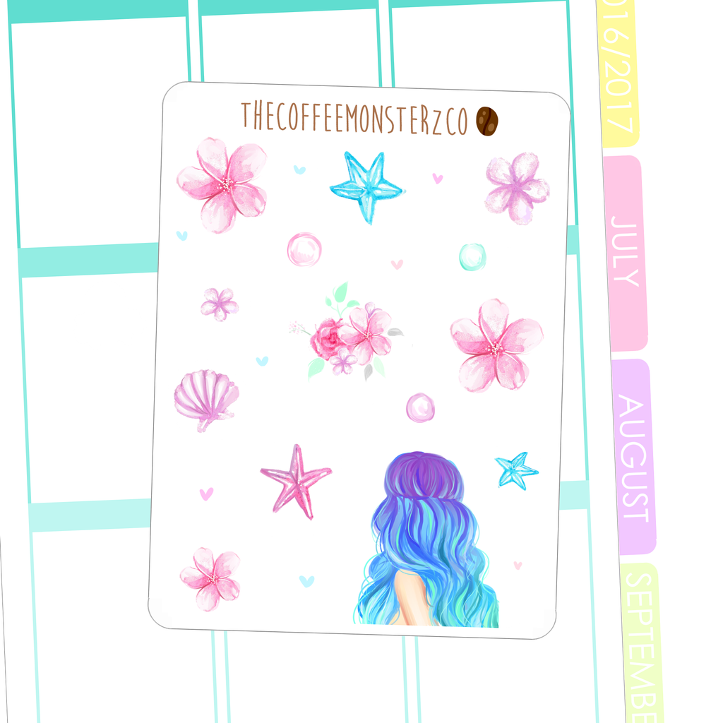 mermaid's call deco stickers, TheCoffeeMonsterzCo