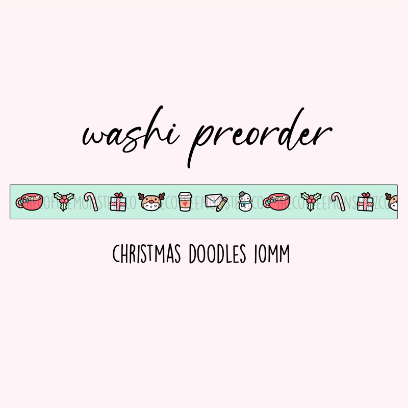 PREORDER Christmas Doodles Washi Tape (10mm)