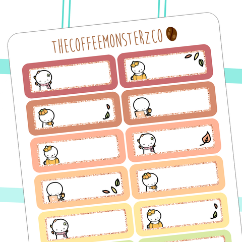 Autumn Emoti Glitter Labels (FINAL STOCK), TheCoffeeMonsterzCo
