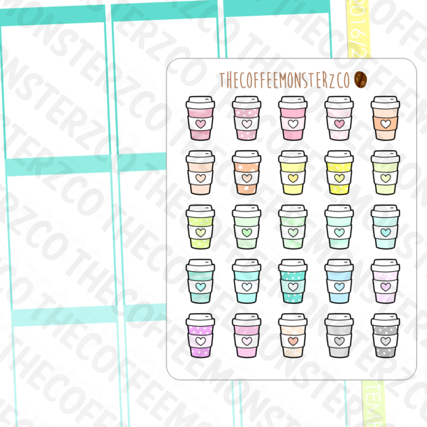 rainbow coffee cups, TheCoffeeMonsterzCo