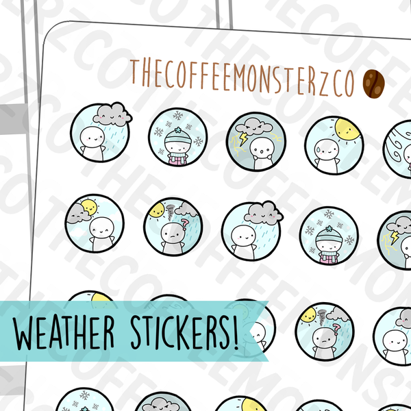 Emoti Weather Icons Sampler, TheCoffeeMonsterzCo