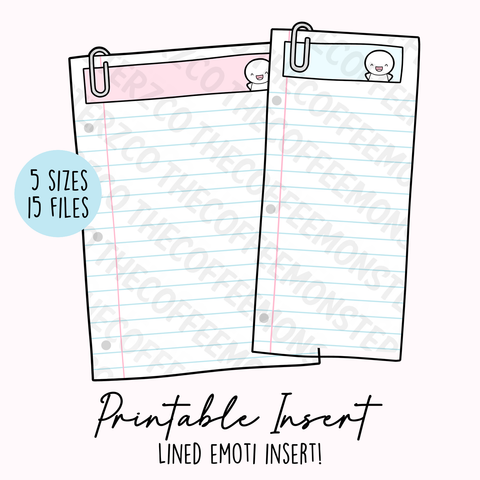 Emoti Lined Insert Printable (Digital Files)