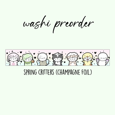 PREORDER Spring Critters Emoti Washi Tape (15mm Champagne Foil)