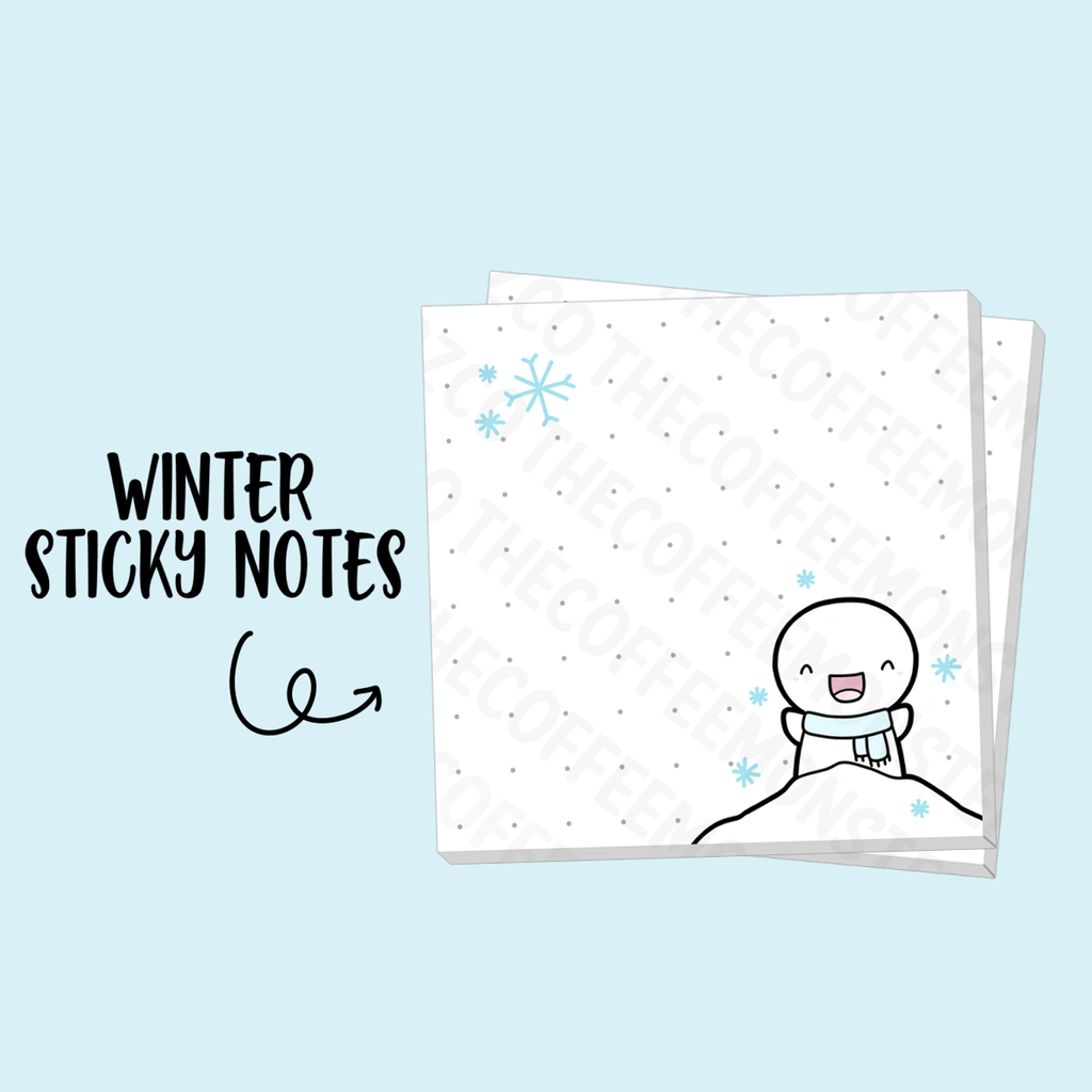 """Winter Dot Grid"" Sticky Note Pad (3"" X 3"")"