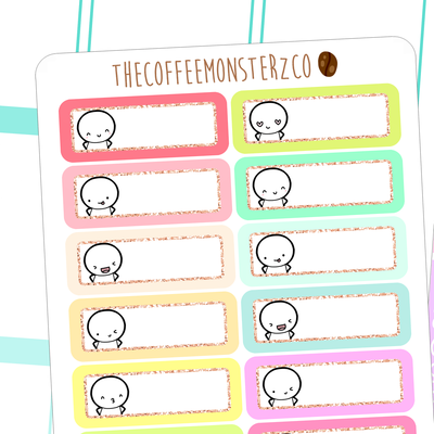 rainbow emoti glitter labels, TheCoffeeMonsterzCo