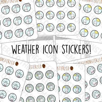 Emoti Single Weather Icon Mini Sheets, TheCoffeeMonsterzCo