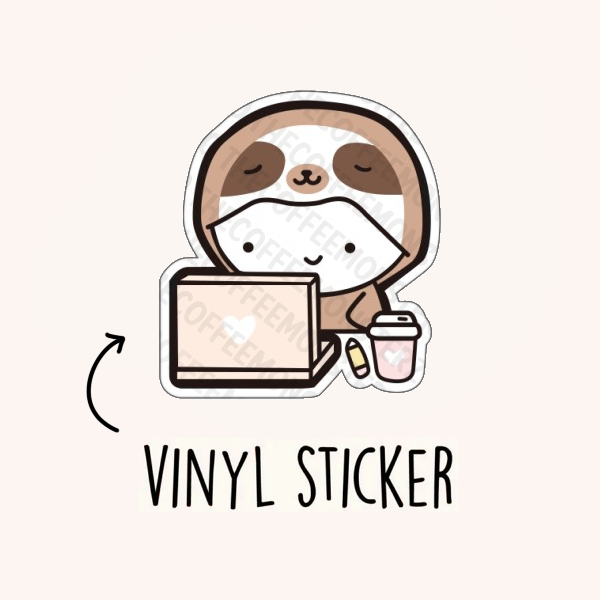Working Sloth Vinyl Sticker