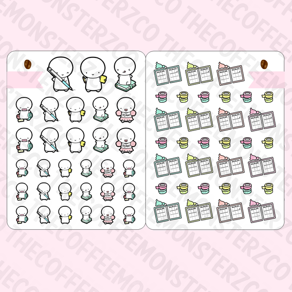 Planner Girl Sticker Book (6 Pages), TheCoffeeMonsterzCo