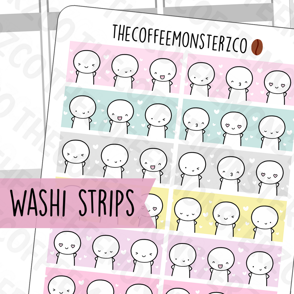Emoti Washi Sticker Swatches, TheCoffeeMonsterzCo
