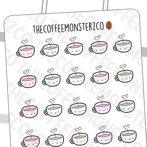 Heart Steamy Mug Doodles, TheCoffeeMonsterzCo