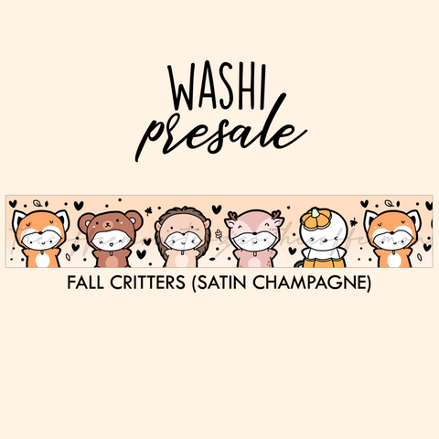 PRESALE Fall Critters Washi Tape (Satin Champagne Foil)