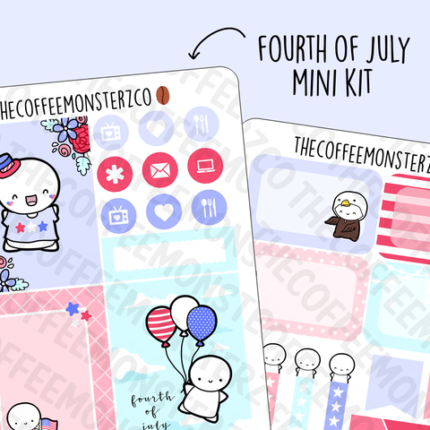 Fourth of July 2 Page Mini Kit, TheCoffeeMonsterzCo