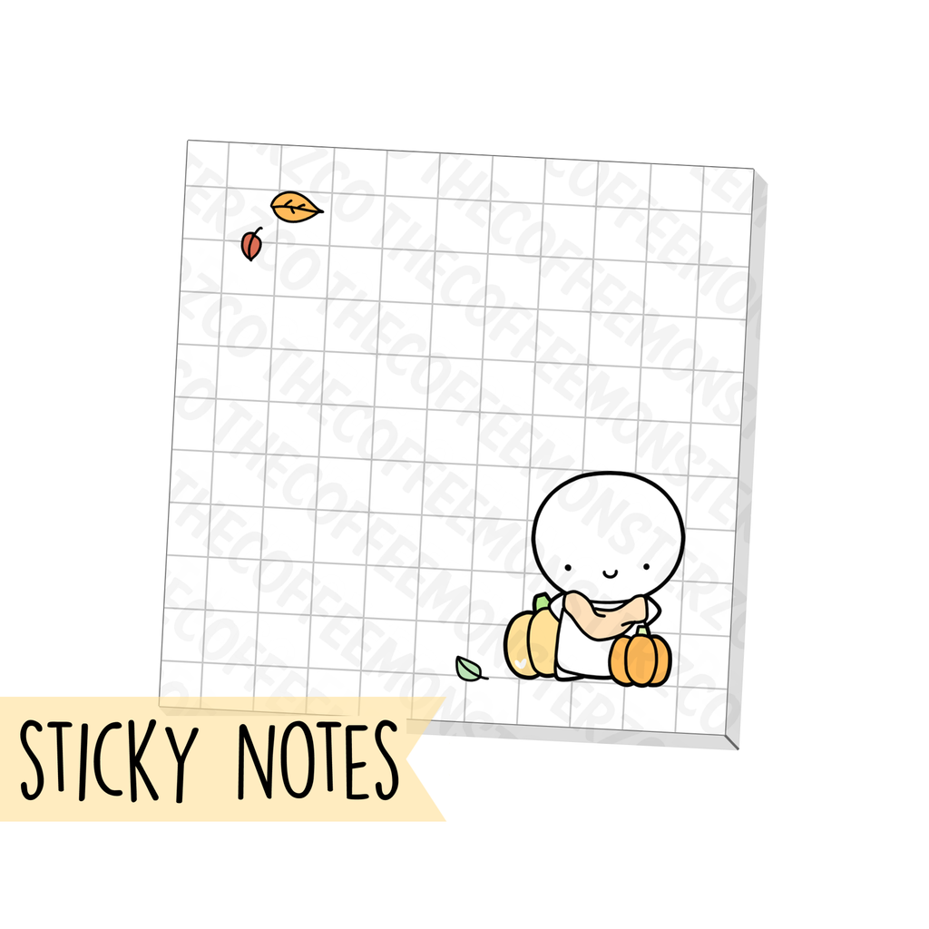 "Fall Emoti Grid Sticky Note (3"" X 3""), TheCoffeeMonsterzCo"