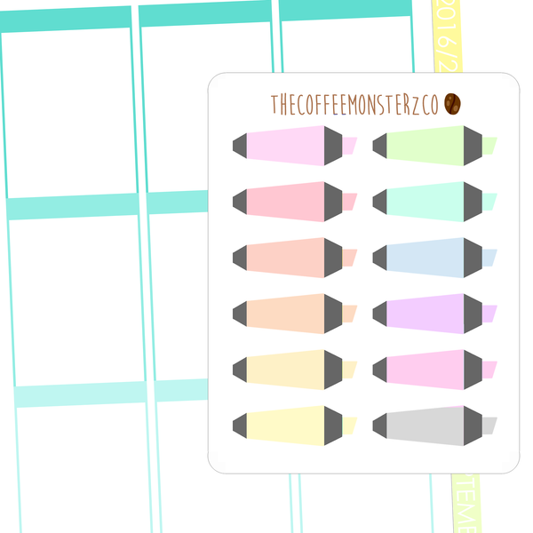 pastel highlighters, TheCoffeeMonsterzCo