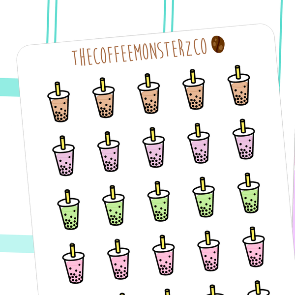 bubble tea doodles, TheCoffeeMonsterzCo