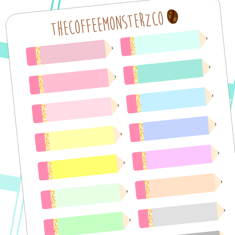 helen's favourite pencil stickers, TheCoffeeMonsterzCo