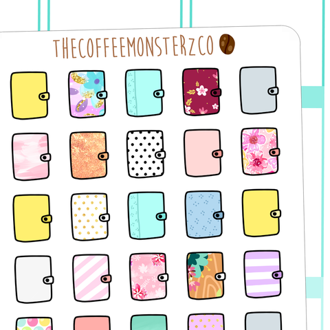 patterned planners, TheCoffeeMonsterzCo