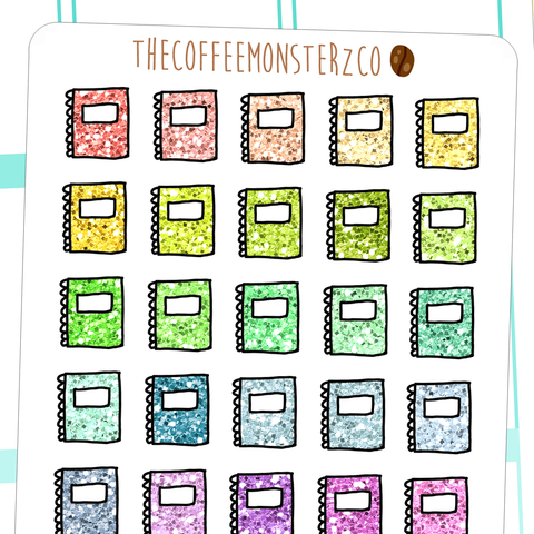 glitter notebooks, TheCoffeeMonsterzCo
