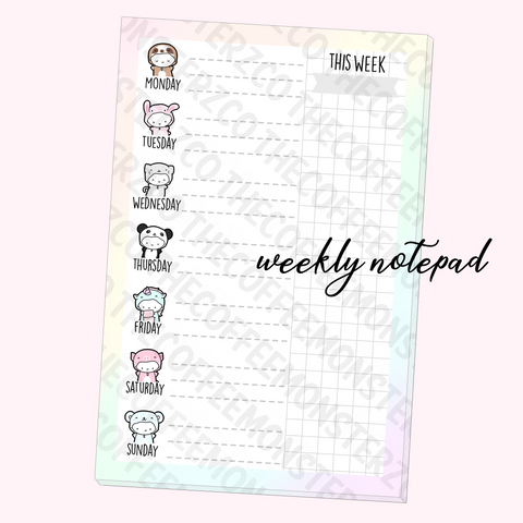 Onesie Weekly Notepad