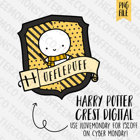 Hufflepuff Crest Emoti Digital Clipart Download PNG, TheCoffeeMonsterzCo