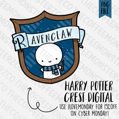 Ravenclaw Crest Emoti Digital Clipart Download PNG, TheCoffeeMonsterzCo