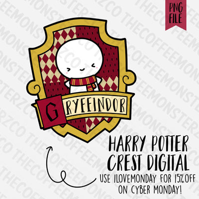 Gryffindor Crest Emoti Digital Clipart Download PNG, TheCoffeeMonsterzCo