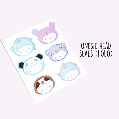 Holo Foil Onesie Seal Stickers, TheCoffeeMonsterzCo