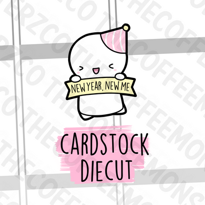 New Year, New Me Emoti Diecut, TheCoffeeMonsterzCo