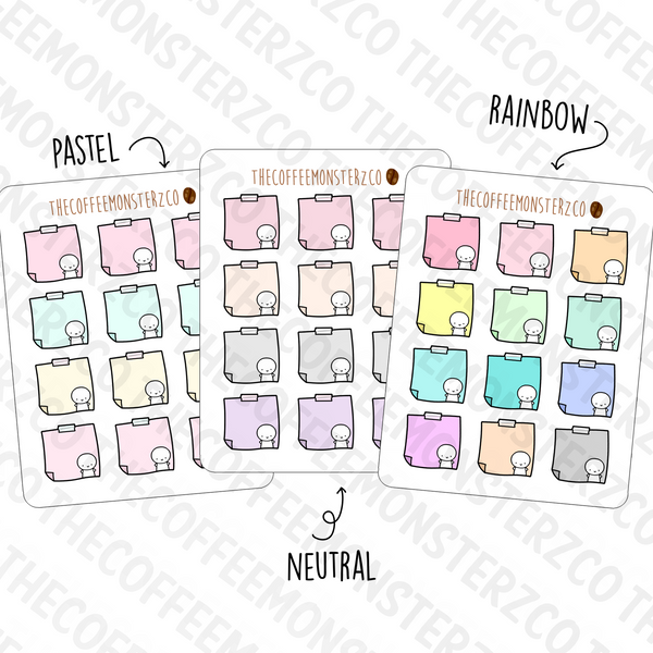 Neutral Sticky Note Stickers, TheCoffeeMonsterzCo