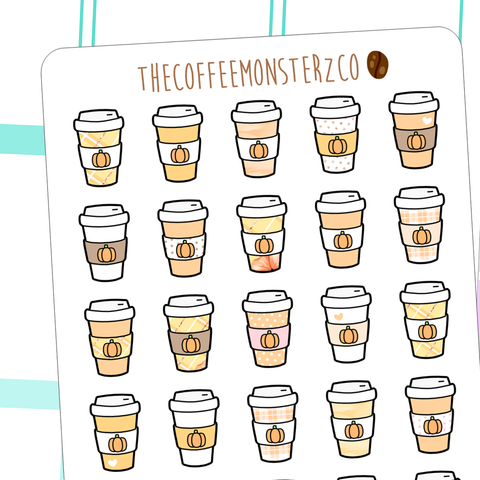 pumpkin spice latte doodles(FINAL STOCK), TheCoffeeMonsterzCo