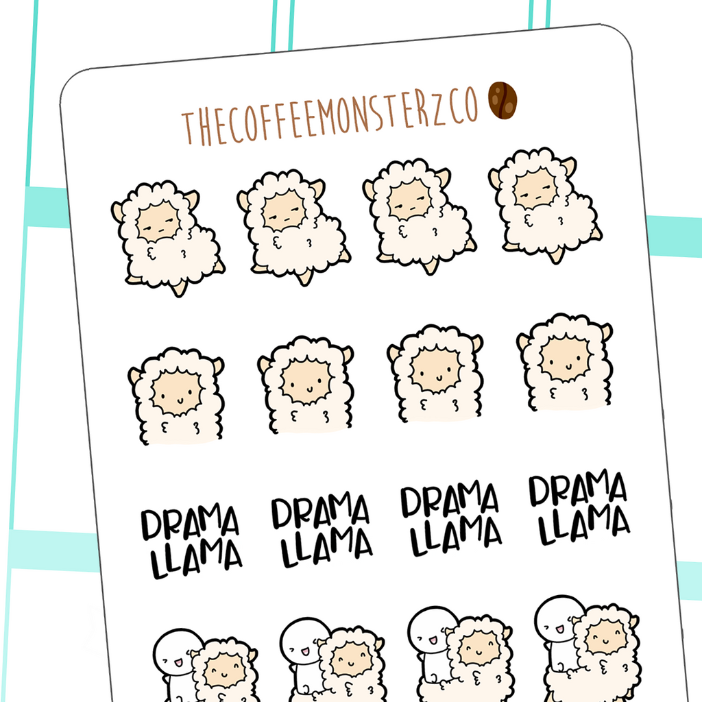 llama drama doodles, TheCoffeeMonsterzCo