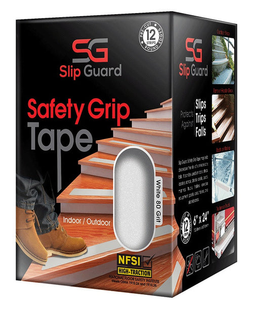 "Non Slip Tape - 6"" x 24"" Pre-Cut Strips (Pack of 12), White"