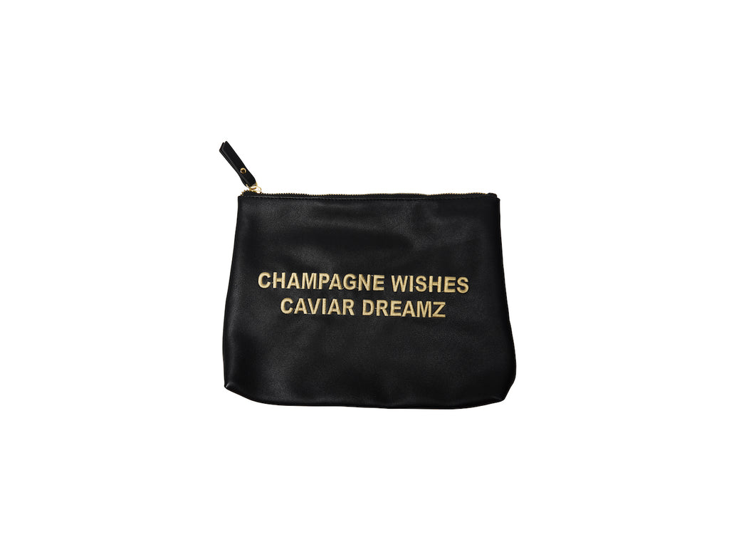 Black Champagne Wishes Caviar Dreamz Large Vegan Makeup Bag