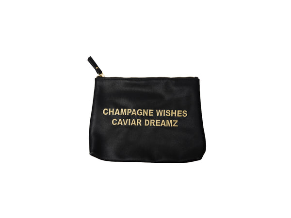 "NEW!!! Black & Gold ""Champagne Wishes. Caviar Dreamz"" Oversized Makeup Bag"