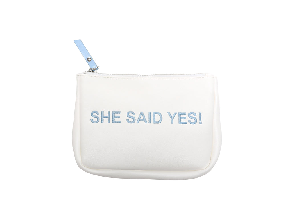 White Frost She said Yes Small Vegan Makeup Bag