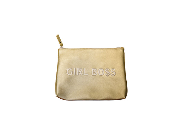 Light Gold Large Girl Boss Vegan Makeup Bag