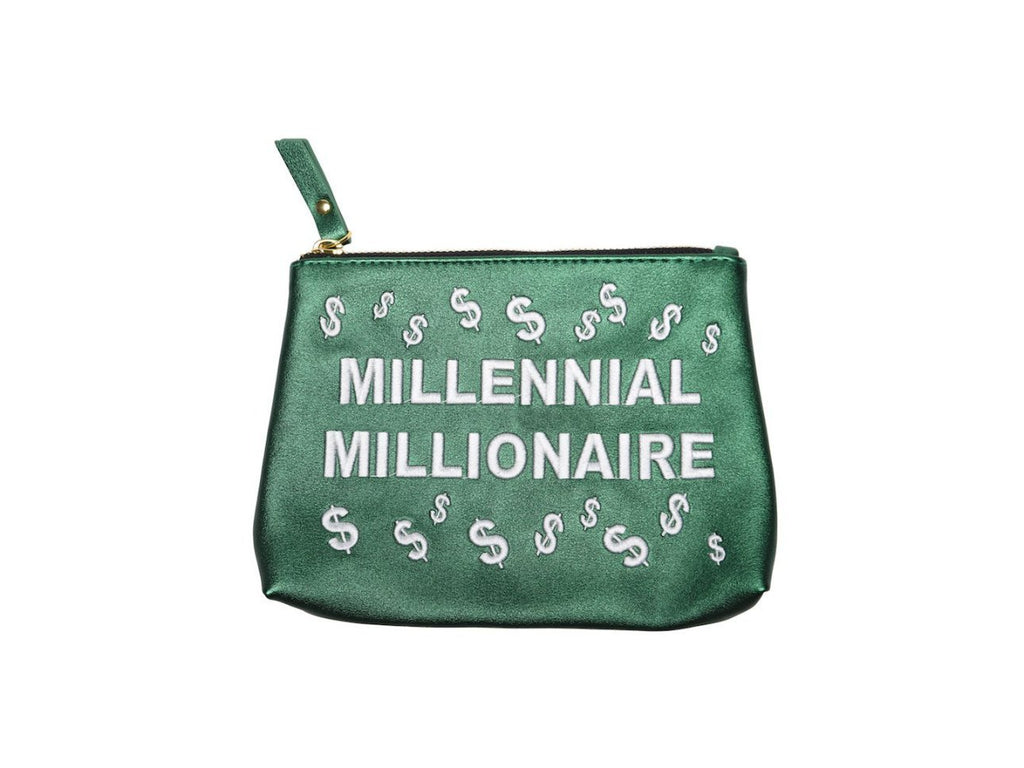 "Forest Green ""Millennial Millionaire"" Small Vegan Makeup Bag"
