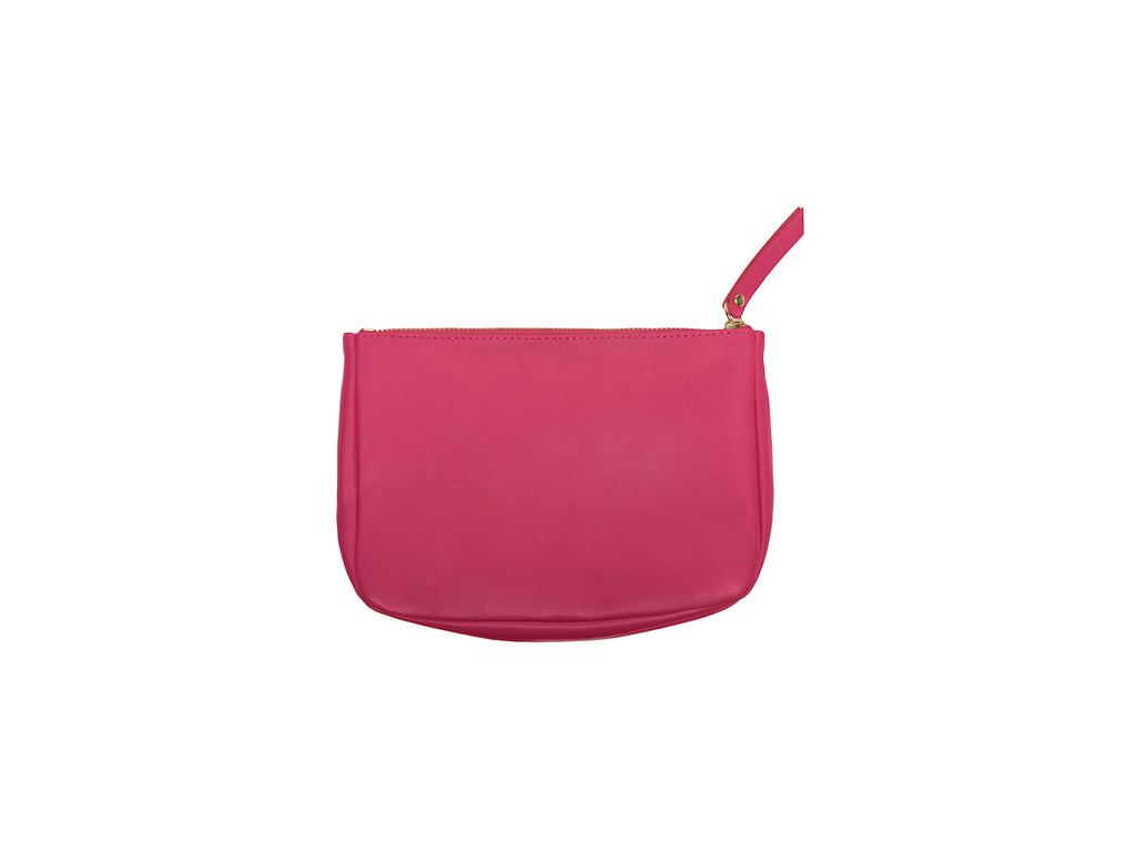 Hot Pink Rich Bitch Vegan Small Makeup bag