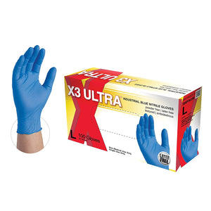 X3 ULTRA INDUSTRIAL BLUE GLOVES MEDIUM