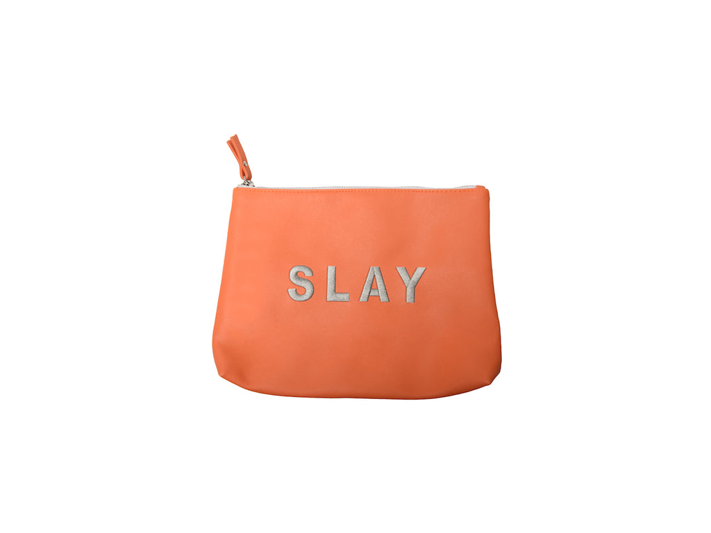 Large Tangerine Slay Vegan Makeup Bag