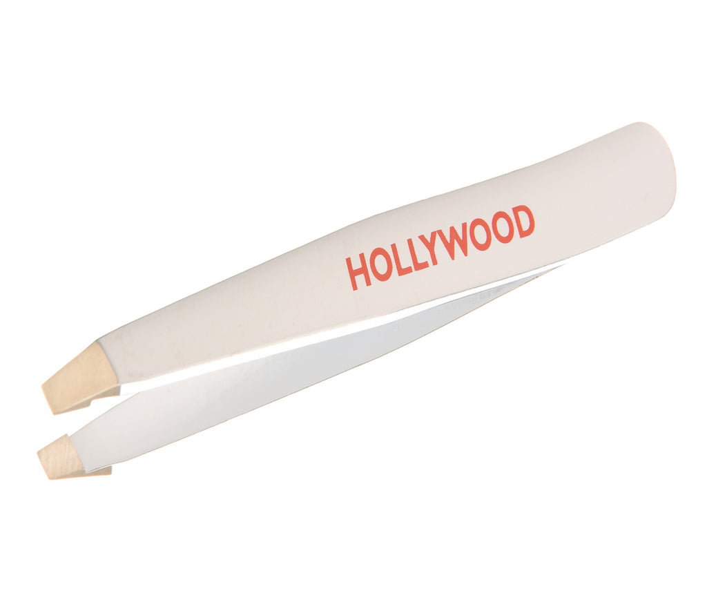 White Hollywood Stainless Steel Italian Tweezers