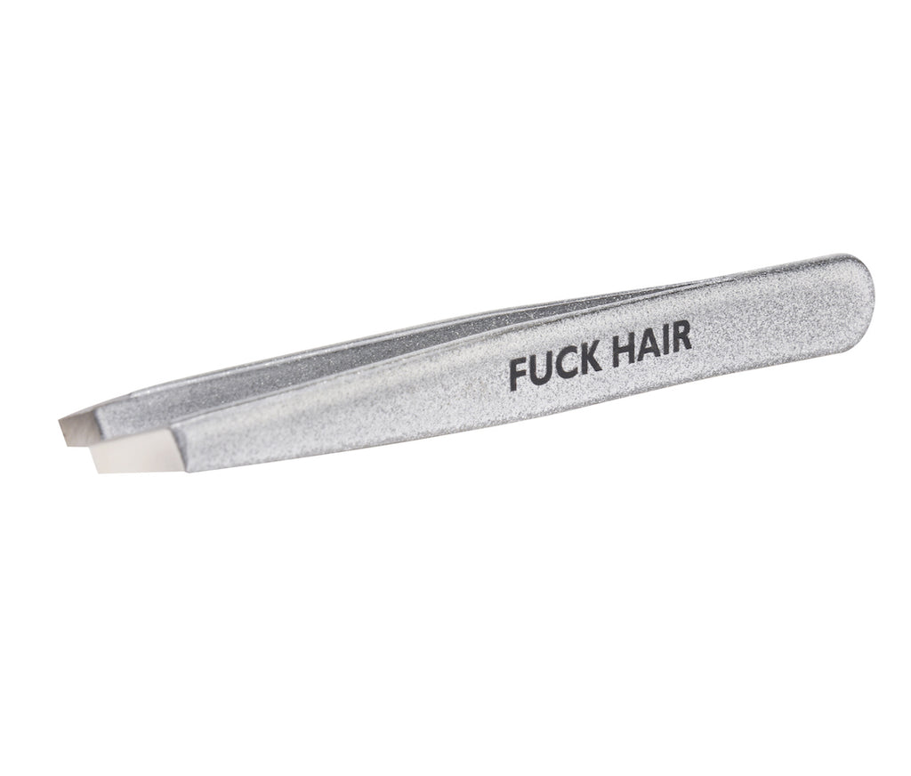 Limited Edition Silver Sparkle Fuck Hair Stainless Steel Italian Tweezers