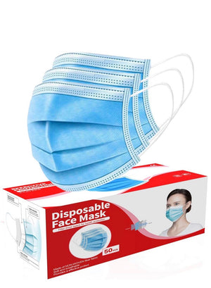 Dispoable Blue Face Mask 3 layer Box of 50