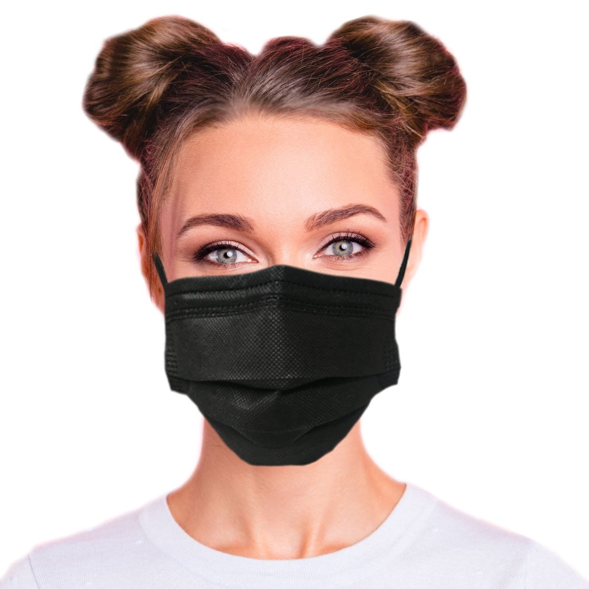 Black Disposable Face Cover 3-Ply Filter Non Medical Breathable Masks - 50 Pcs