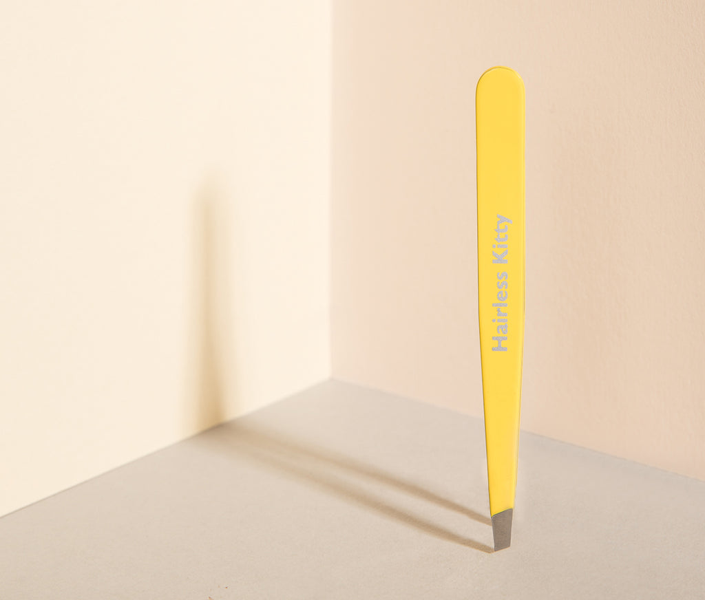 "Lemon Yellow ""Hairless Kitty"" Stainless Steel Italian Tweezers"