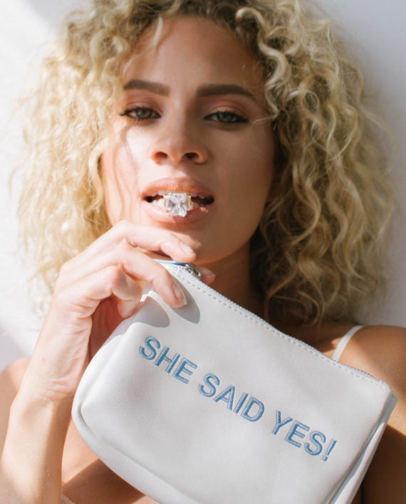 "NEW!! White Frost ""She said Yes"" Small Bag"